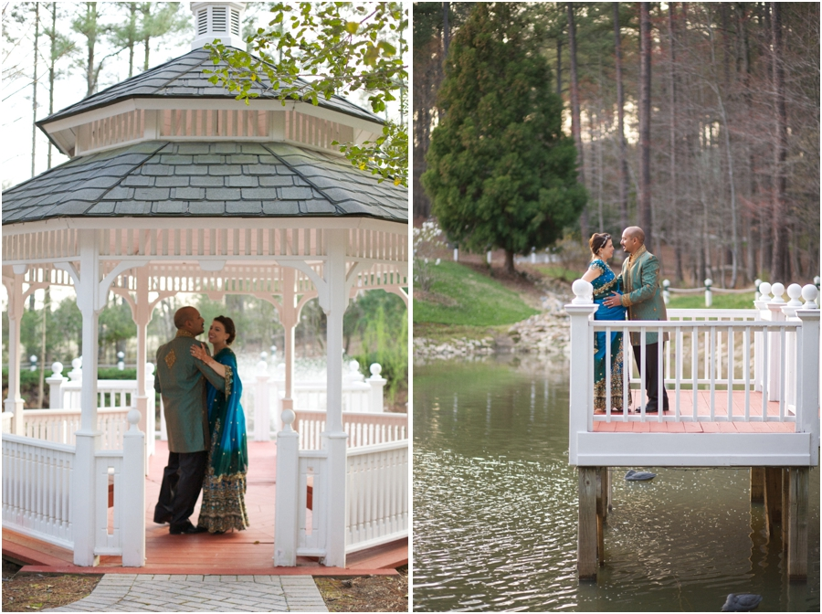 intimate garden wedding photography, bride and groom dancing in a gazebo by the waterside