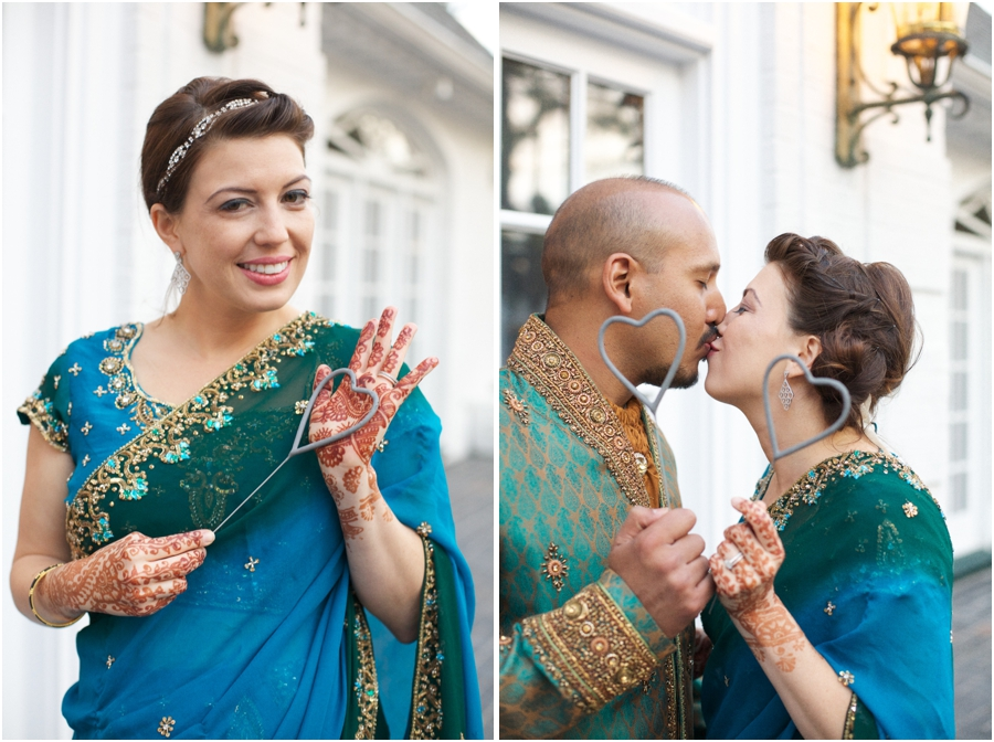 cultural bridal portraits, bride and groom holding heart-shaped sparklers