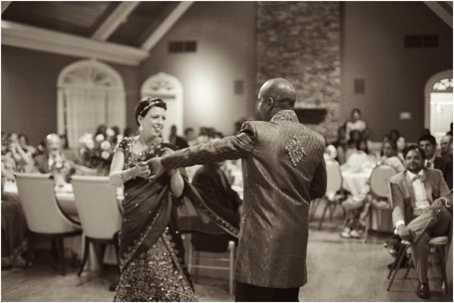 bride and groom dancing at wedding reception, vintage wedding photography