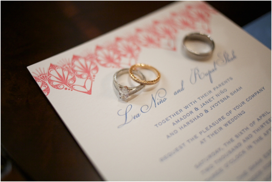 bride and groom's wedding bands on wedding invitation, ring shot ideas
