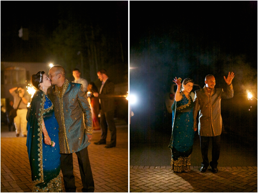 guests sending off the bride and groom, fun sparkler exit
