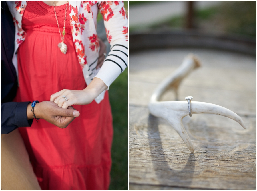 unique ringshot ideas, couple holding hands and engagement ring on deer antler