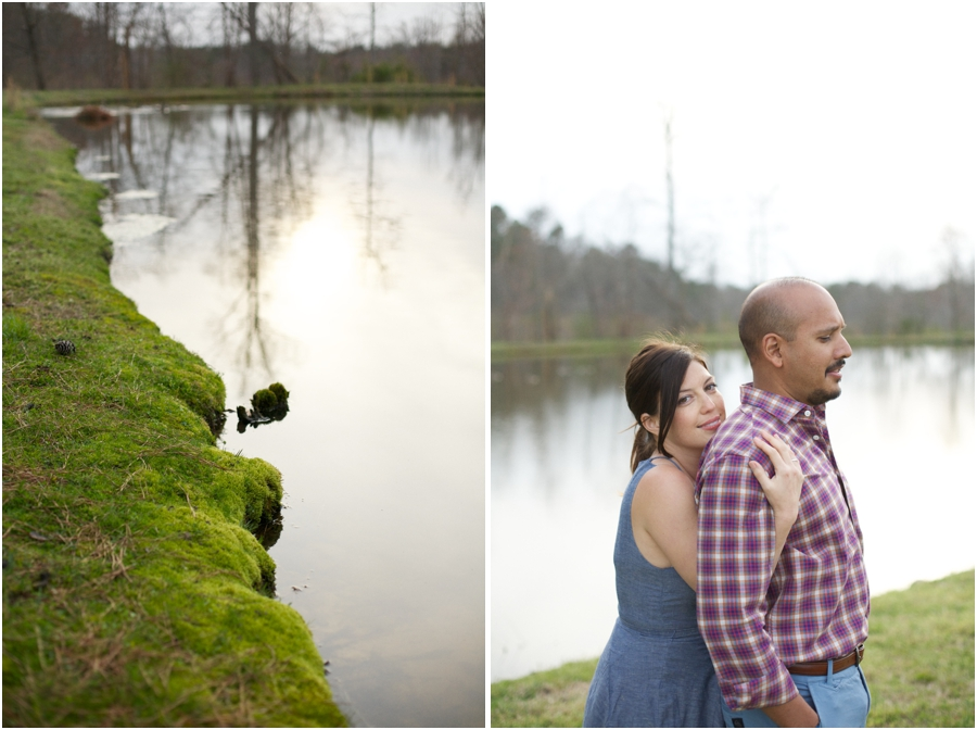 moss around the edge of lake at cloer vineyards, unique engagement photography, raleigh nc