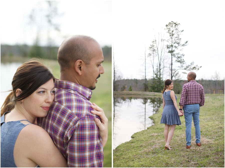 southern engagement photographers, couple holding hands by the lake at cloer vineyards