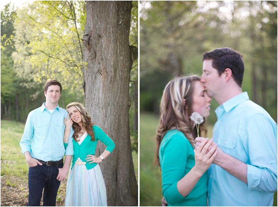 romantic spring engagement portraits, nc vineyard engagement photography