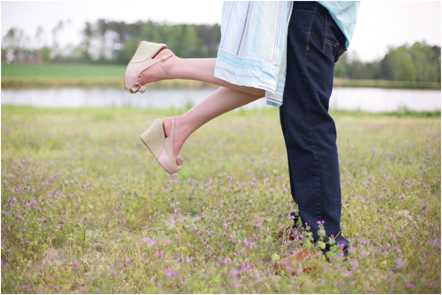 romantic lift-kiss, nc vineyard engagement photography