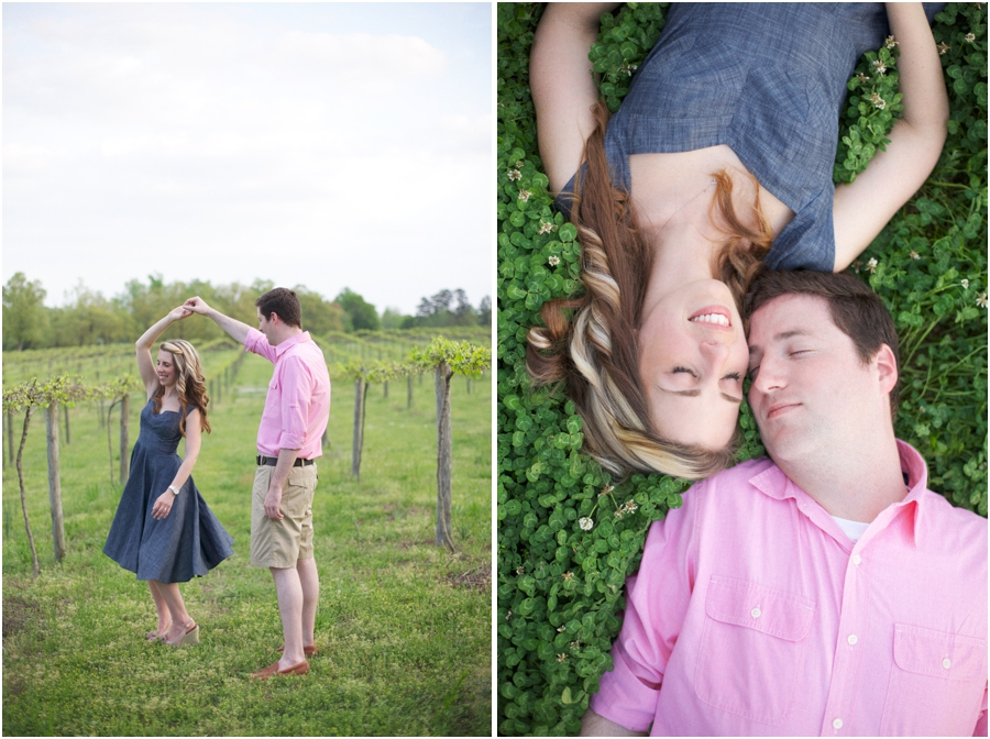 couple dancing at gregory vineyards, romantic spring engagement photography