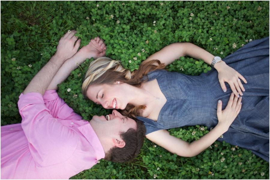 cute engagement portrait poses, romantic spring engagement photography
