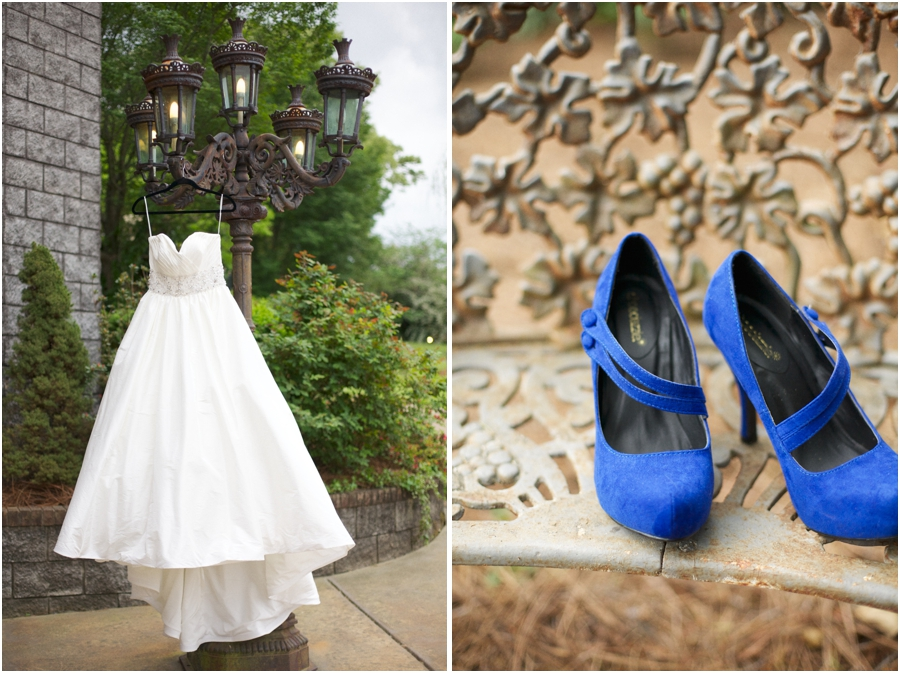 sweetheart neckline wedding dress from savvi formal, bride's blue heels