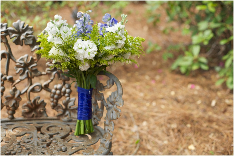 beautiful fresh bridal bouquet with cream and blue accents, vintage garden wedding photography