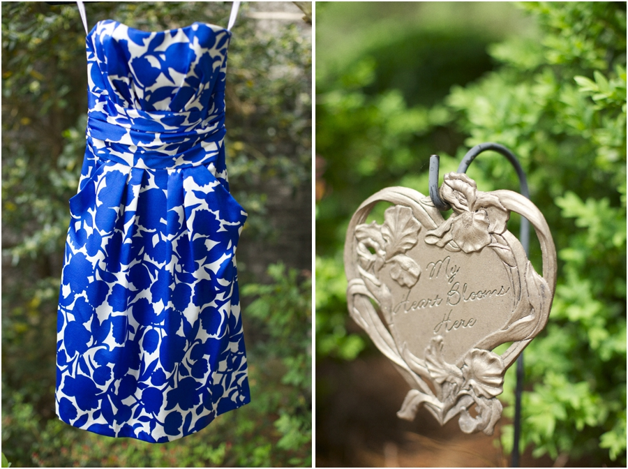 blue and white patterned strapless bridesmaid gown with pockets, romantic garden wedding photography