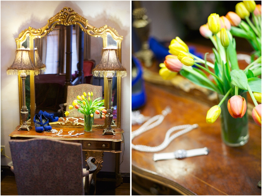 bridal jewelry on vintage dresser, yellow and orange tulips