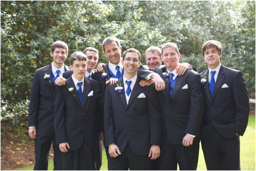groomsmen photography, groom and groomsmen in black suits and blue ties from men's wearhouse