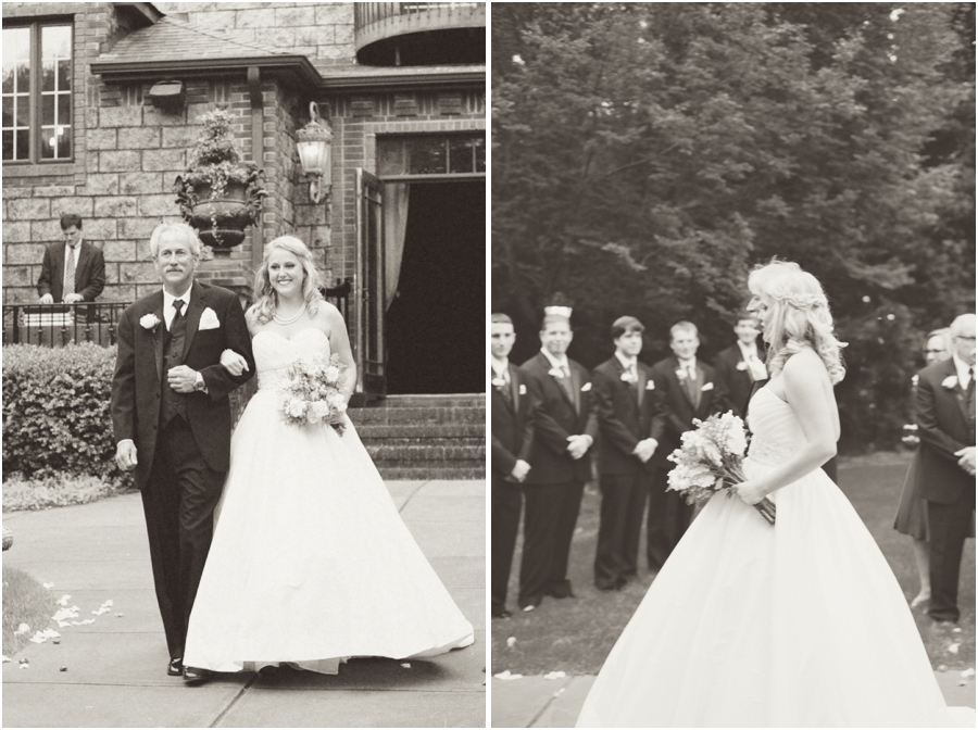 father of the bride walking daughter up the aisle, vintage garden wedding photography