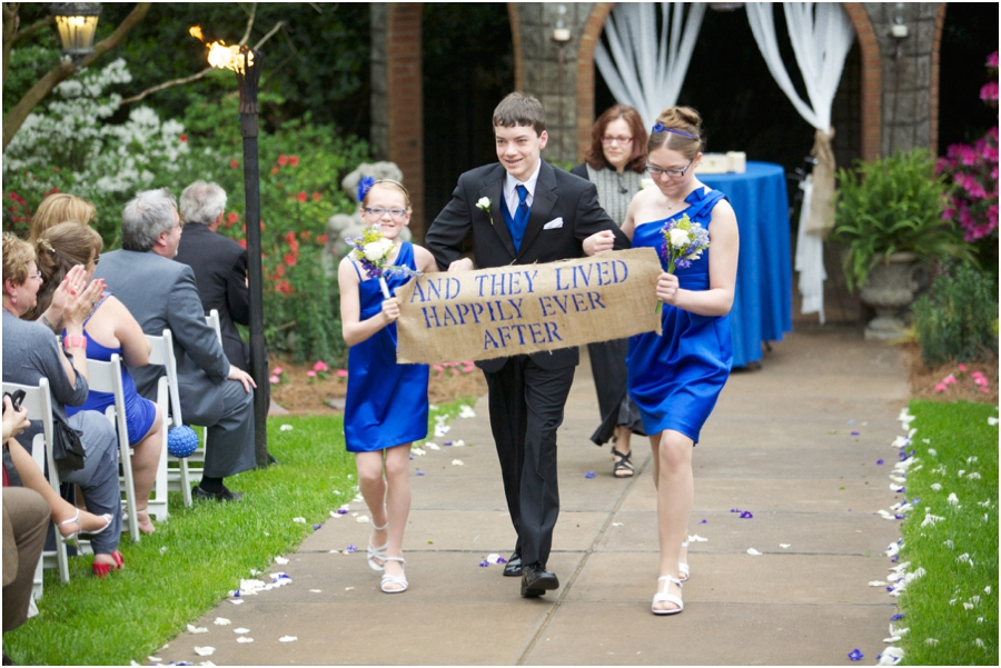 and they lived happily ever after banner at rustic wedding, romantic southern wedding photographers