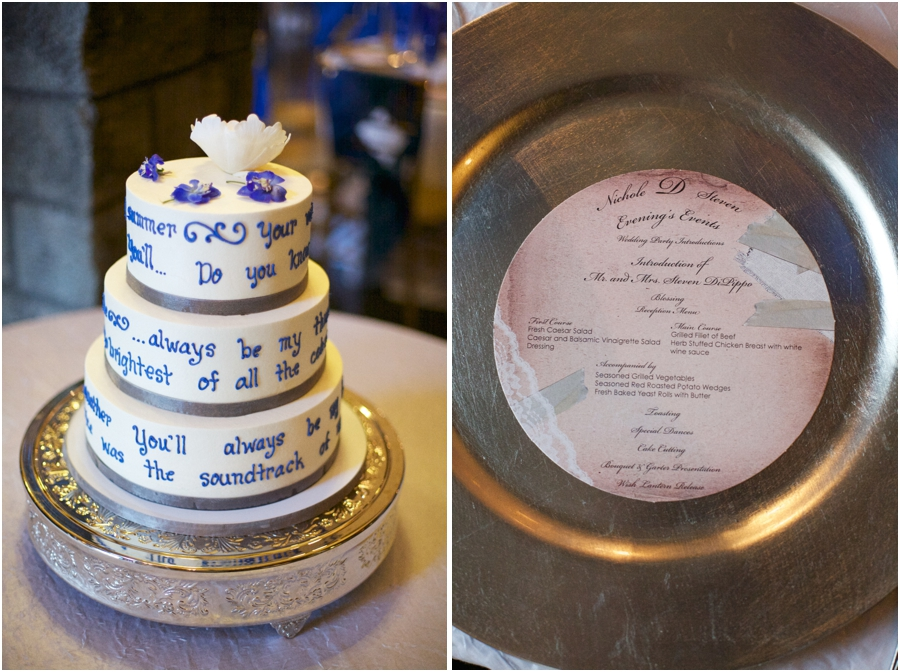 wedding cake with lyrics to a favorite song, unique southern wedding photography