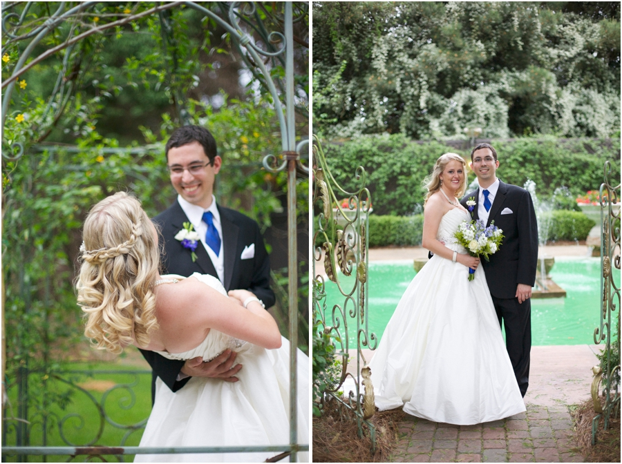 romantic garden wedding portraits, southern wedding photographers