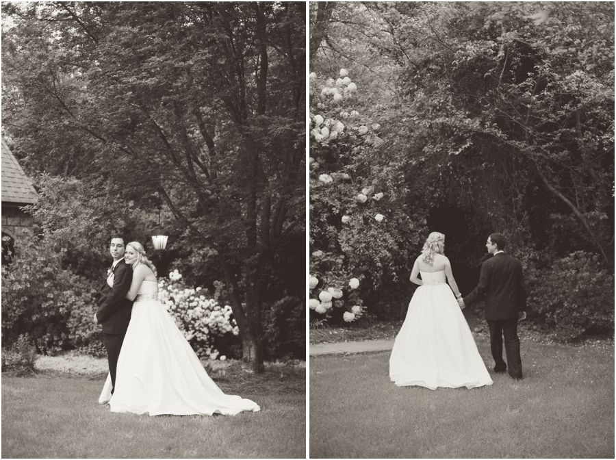 vintage garden wedding photography, black and white wedding portraits