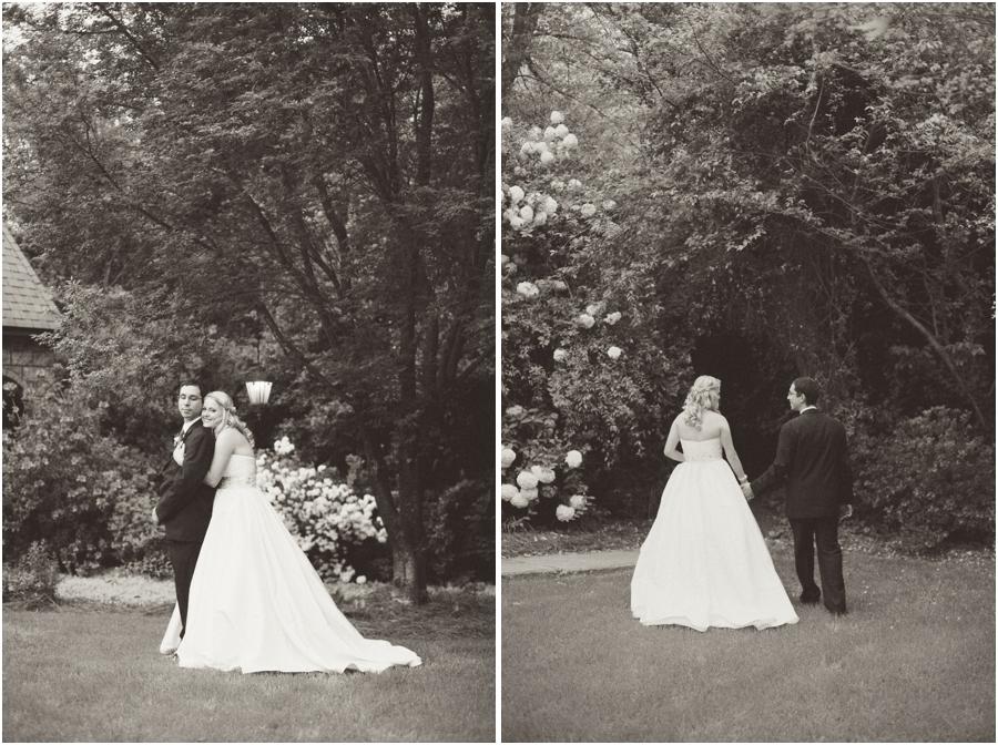vintage garden wedding photography, black and white wedding portraits