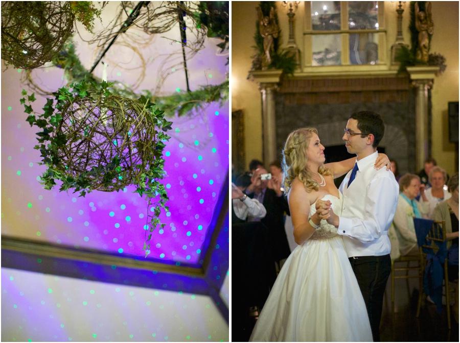 rustic wedding reception decor, bride and groom at the reception