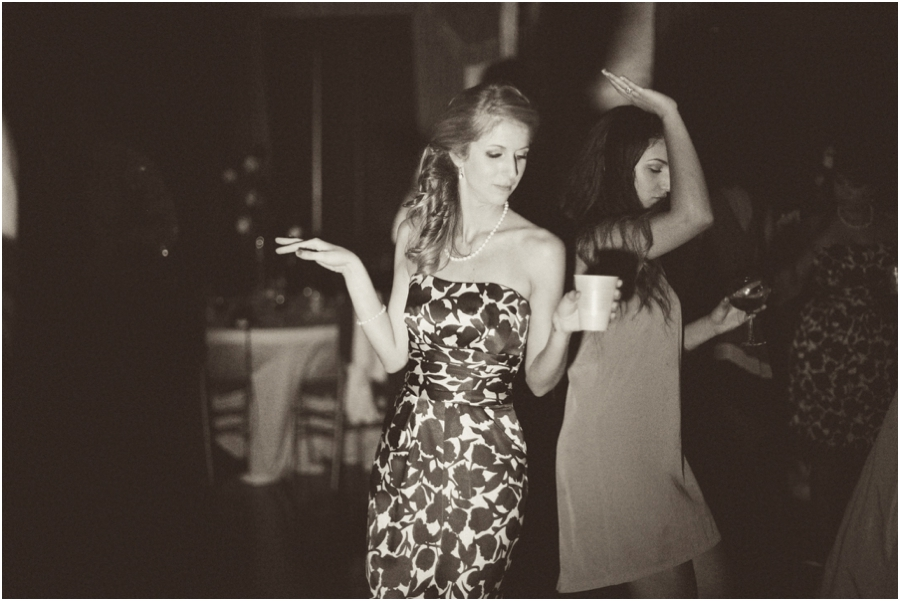guests dancing at wedding reception, black and white wedding photography,