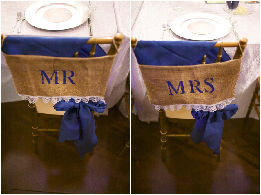 rustic wedding reception ideas, mr. and mrs. seats decorated with burlap and lace