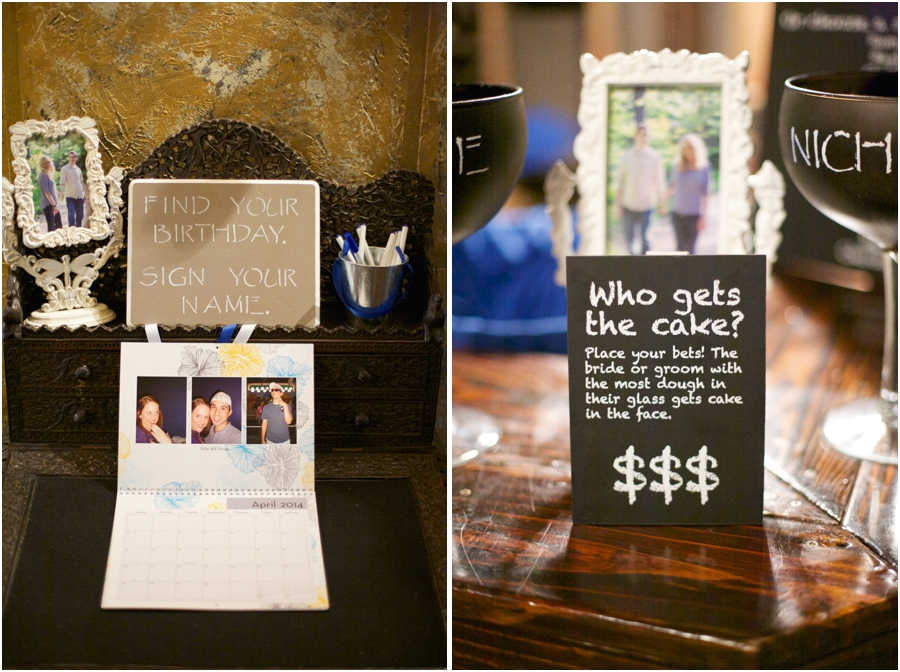 unique save the date ideas, guests sign their names on a personalized calendar, fun wedding reception ideas