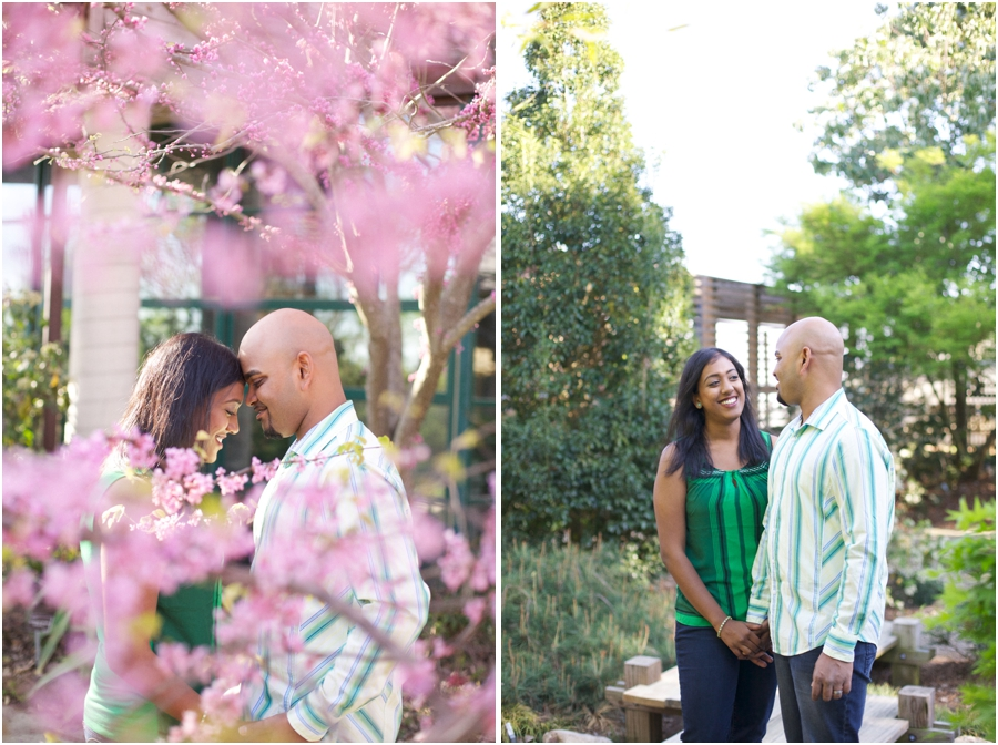 redbuds in bloom, spring engagement photography