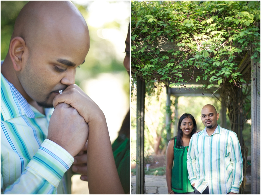 romantic engagement portrait poses, garden couple's photography