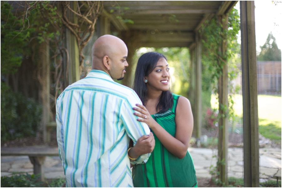 romantic garden engagement, southern couple's photography