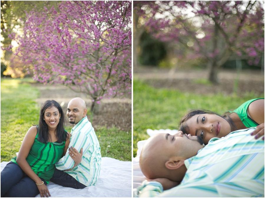 romantic spring picnic engagement, southern engagement photographers