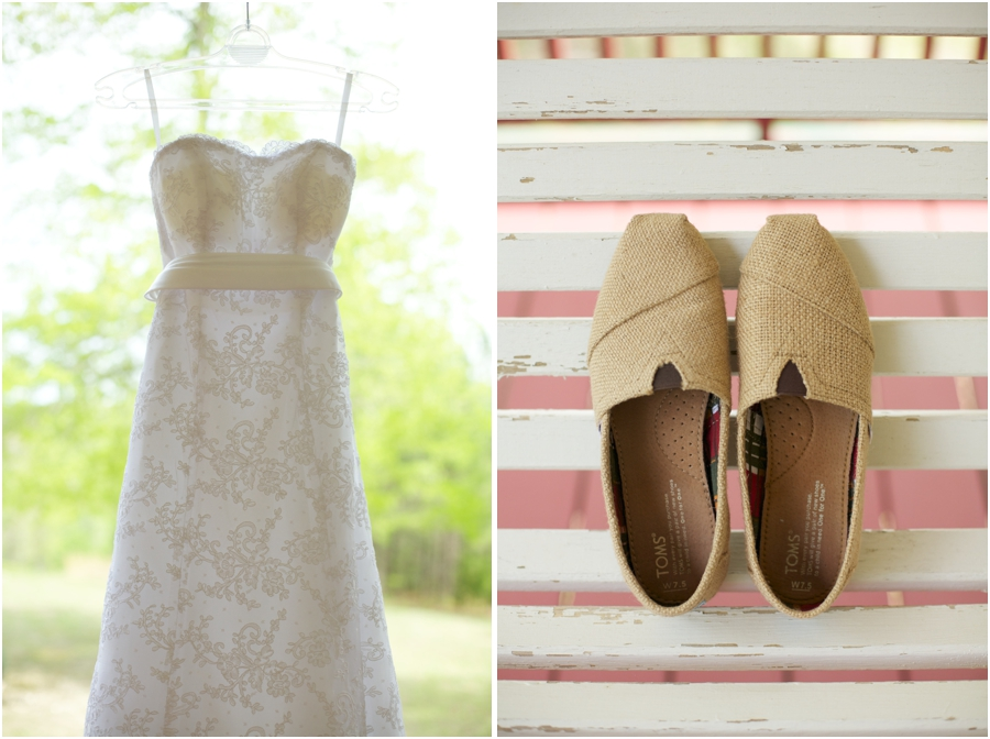 beautiful wedding dress from carolina bridal world, toms bridal shoes