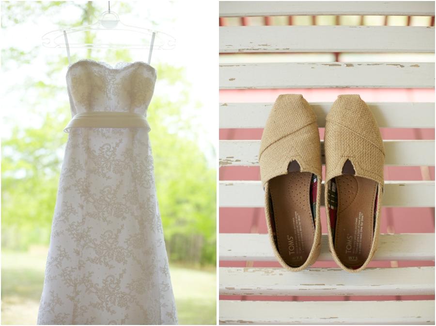 beautiful wedding dress from carolina bridal world, toms bridal shoes