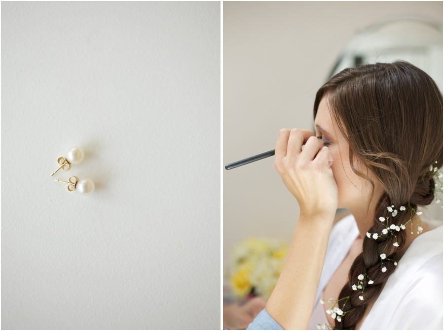 simple elegant bridal jewelry, bride getting her makeup done, beautiful southern wedding photography