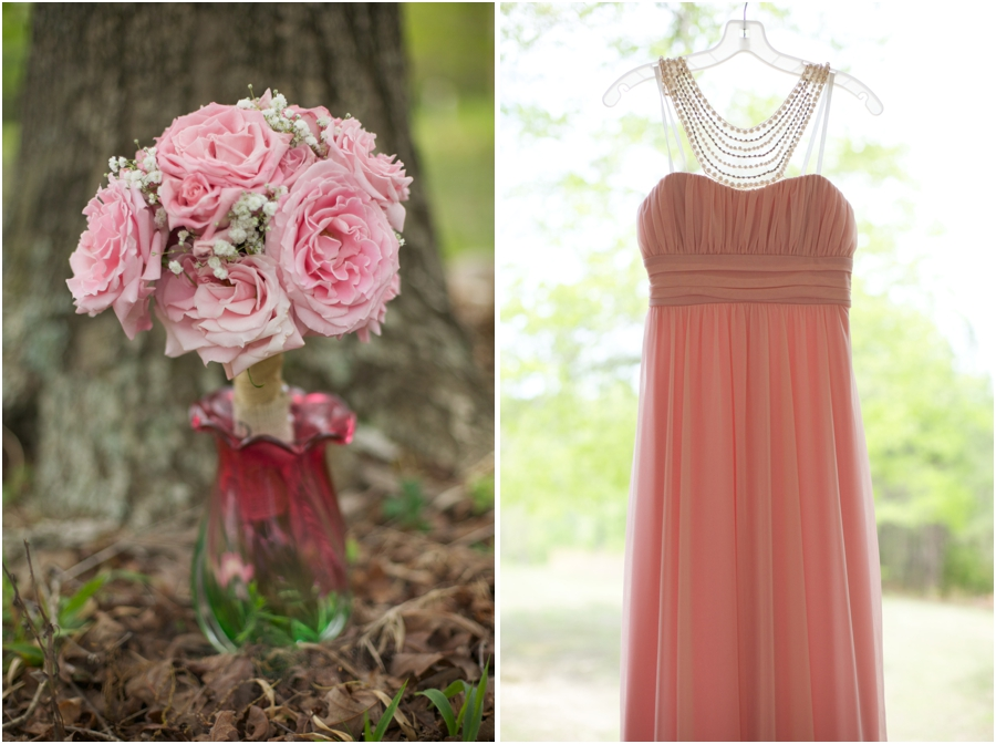 fresh flower bridal bouquet, peach bridesmaid dresses from David's Bridal