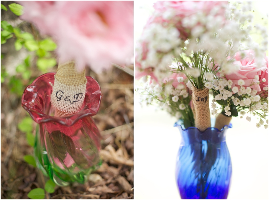 diy rustic bridal bouquets wrapped with burlap embroidered with bride and groom's initials, baby's breath and blush pink fresh flower bridal bouquets