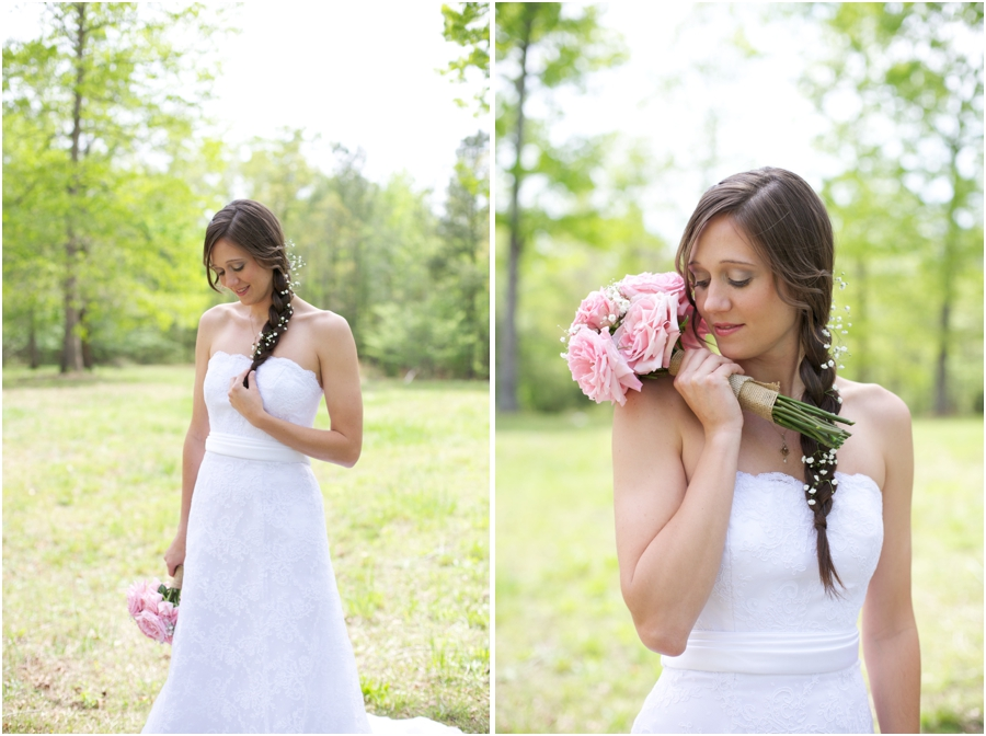 spring bridal photography, a beautiful bride with baby's breath tucked into her braid