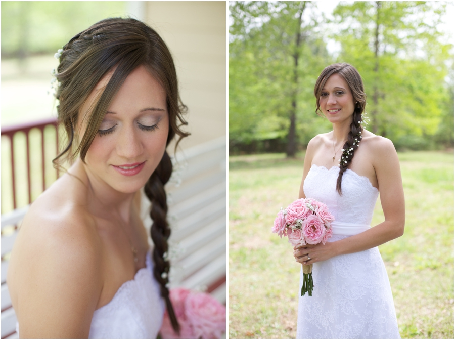 bridal braid with baby's breath done by Today's Hair, bridal makeup by Jeannie Albers