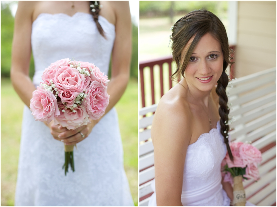 diy bridal bouquet made with baby's breath and blush pink roses, southern bridal makeup