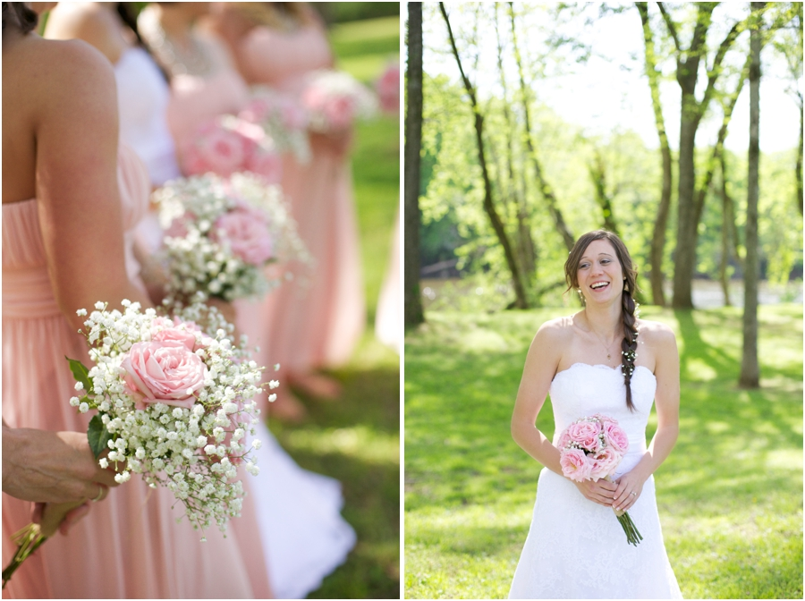 southern weddings, bridesmaids in blush pink dresses holding diy fresh flower bouquets, spring wedding photography