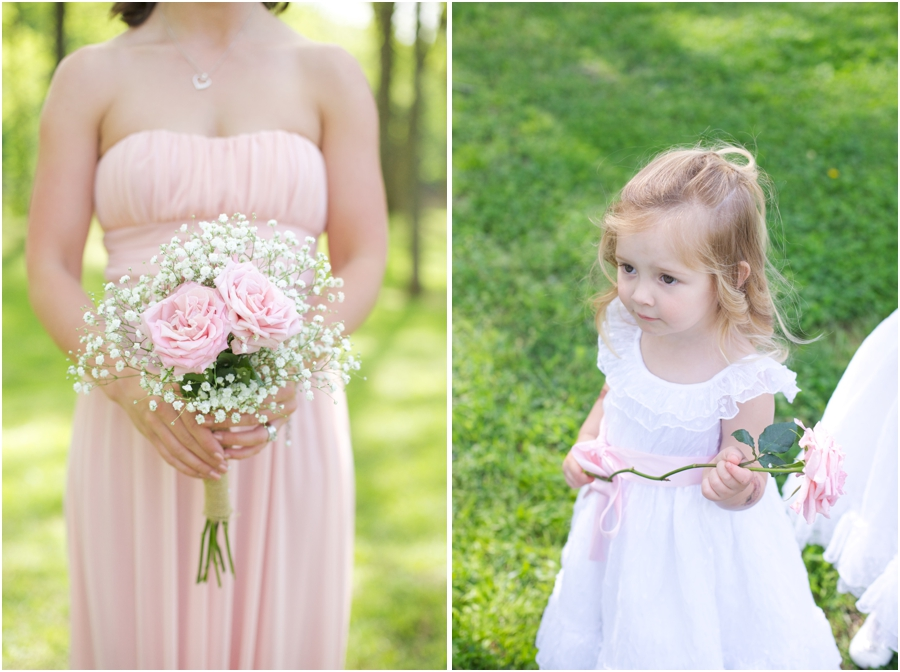 diy baby's breath and pink rose bridesmaid bouquet, flowergirl holding a long-stemmed pink rose