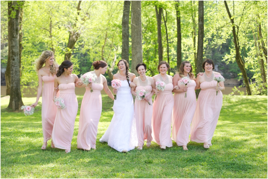 southern weddings, fun bridal party portrait poses, spring wedding photography