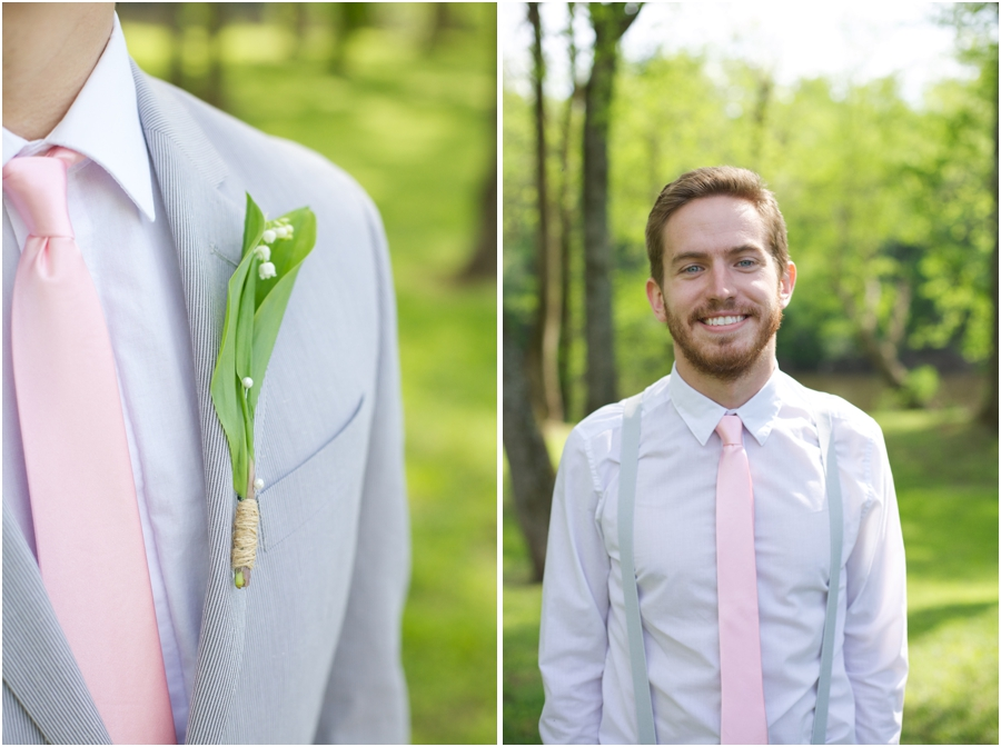 groom's organic boutonniere with baby's breath, groomsmen portraits, southern wedding photographers