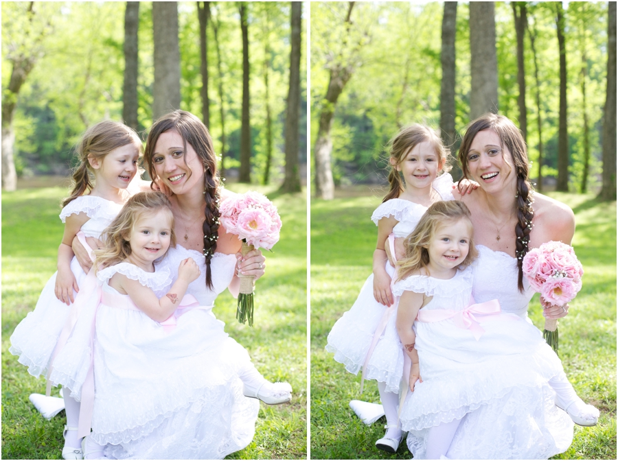 southern wedding photography, bride with two flower girls