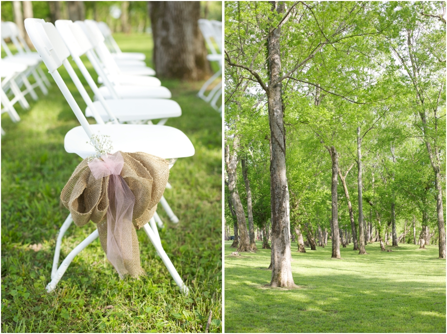 rustic wedding photography, outdoor wedding inspiration, burlap bows on guests chairs, forest wedding photography
