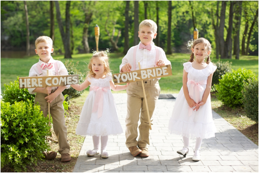 rustic weddings, outdoor wedding inspiration, sign bearers and flower girls