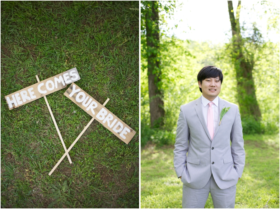 rustic wedding inspiration, 'here comes your bride' painted on wood signs, groom's portraits