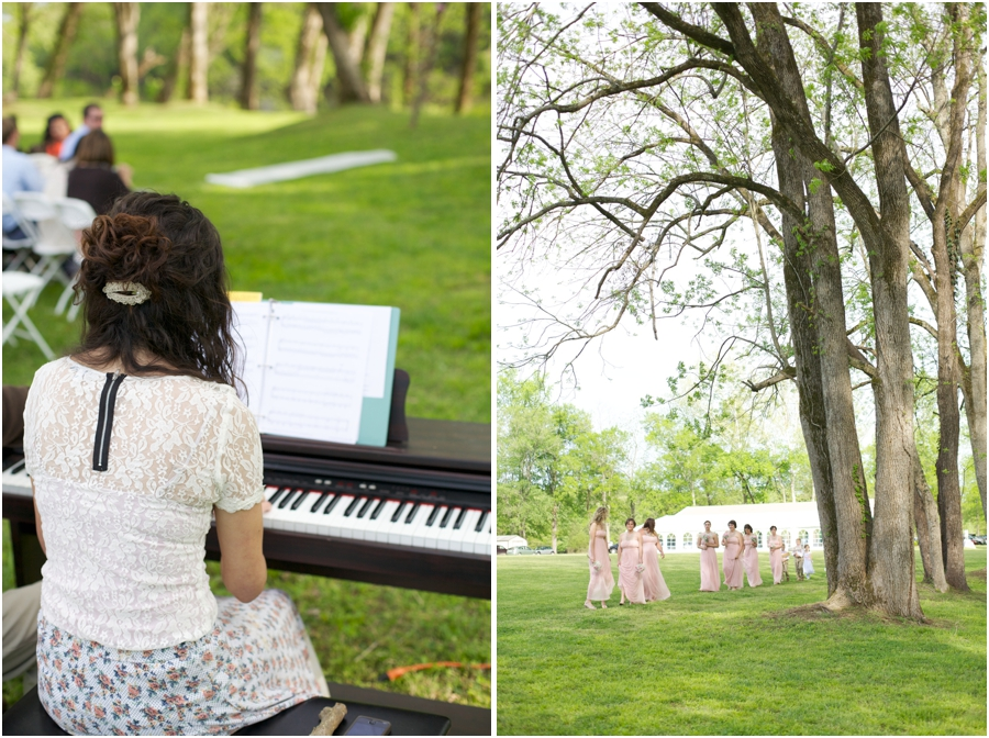 pianist at outdoor wedding, forest wedding photography, spring wedding photographers