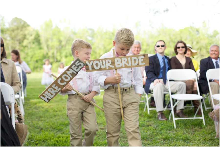 cute sign bearers walking up the aisle, rustic wedding inspiration, southern wedding photographers