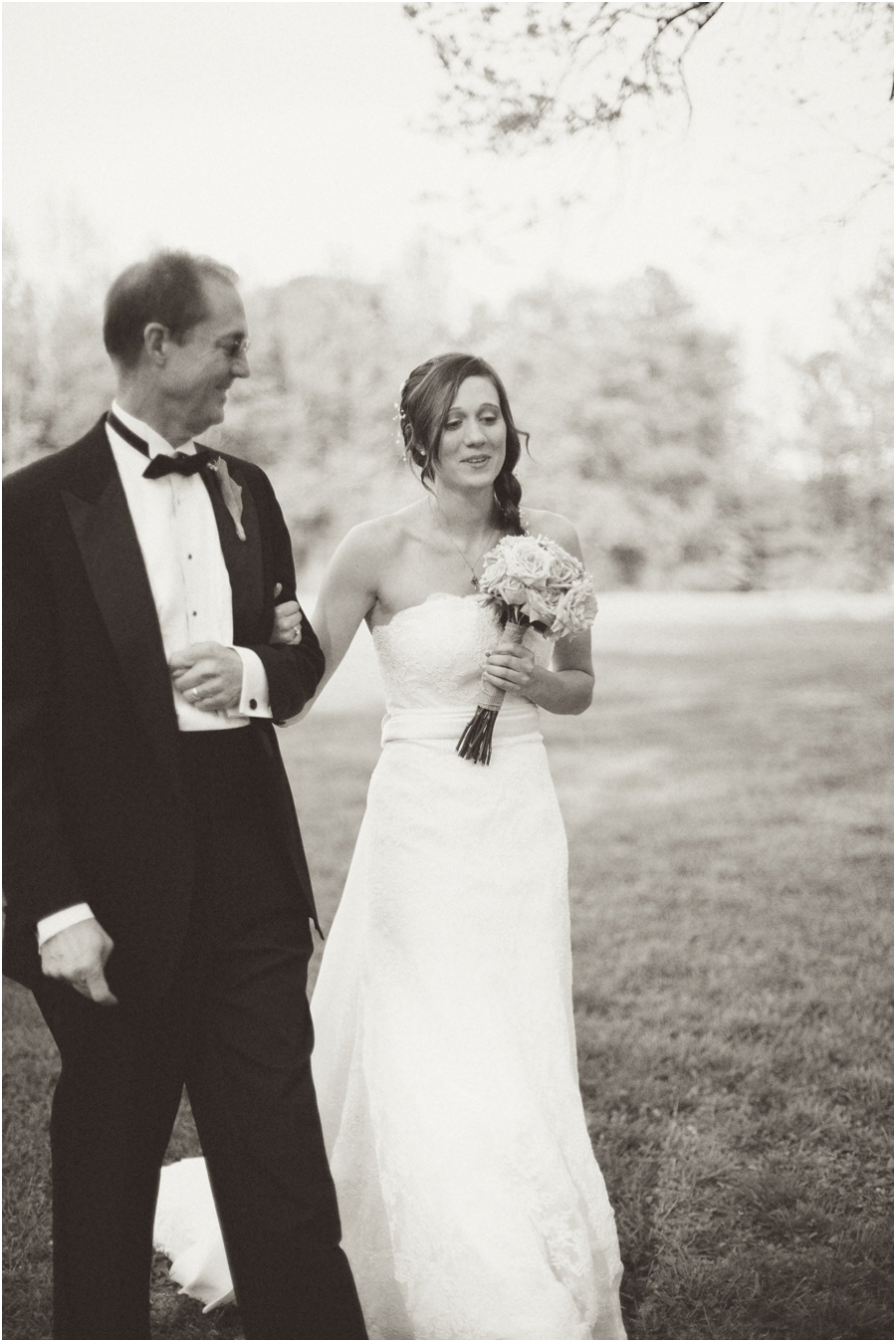 father walking bride up the aisle at a beautiful outdoor wedding, vintage wedding photographers